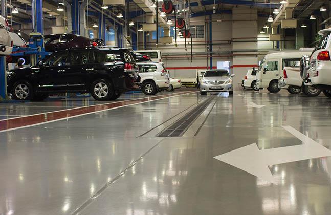 Hi Tech Automotive >> Colourful Floor Finish For Hi Tech Automotive Service Centre
